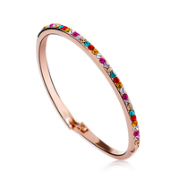 OUXI Plated 18k gold bangle with color crystal