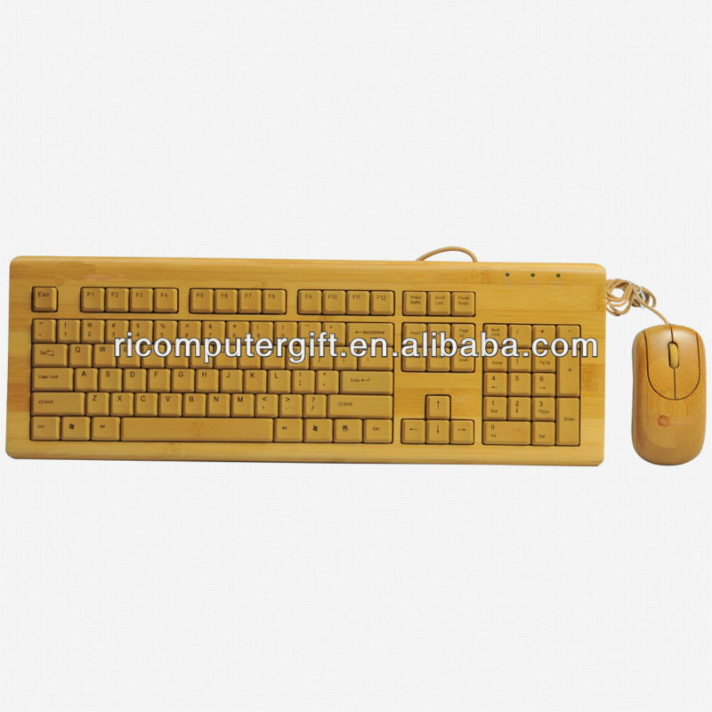 Natural high quality usb bamboo keyboard and mouse set