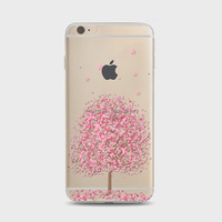 Silicone cell phone case Sakura tree clear phone rubber tpu cases Soft custom Phone Case For iPhone 6 plus 6S plus