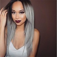 Veteran New Fashinon Silky Straight Brown Root To Grey Ombre Brazilian Virgin Human Hair Full Lace Wig