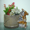 Polyresin Flowerpot With Dog Statue For