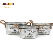 Window Vintage Flower Planter Box Metal Oval Rope Galvanised Decorative Garden Pots With Handles