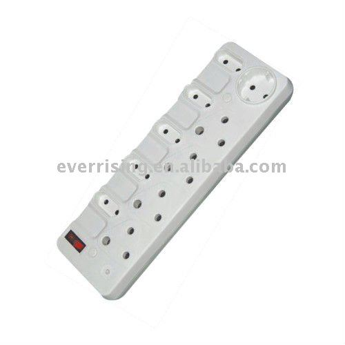 High flame retardant 5way 13A south american universal trailing extension electrical socket