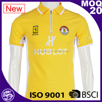 BSCI customized design yellow short sleeve collar design polo shirts
