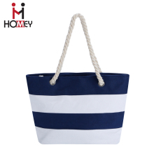 OEM Logo Fashion ladies printed wholesale canvas handbag stripe canvas beach tote bag wholesale