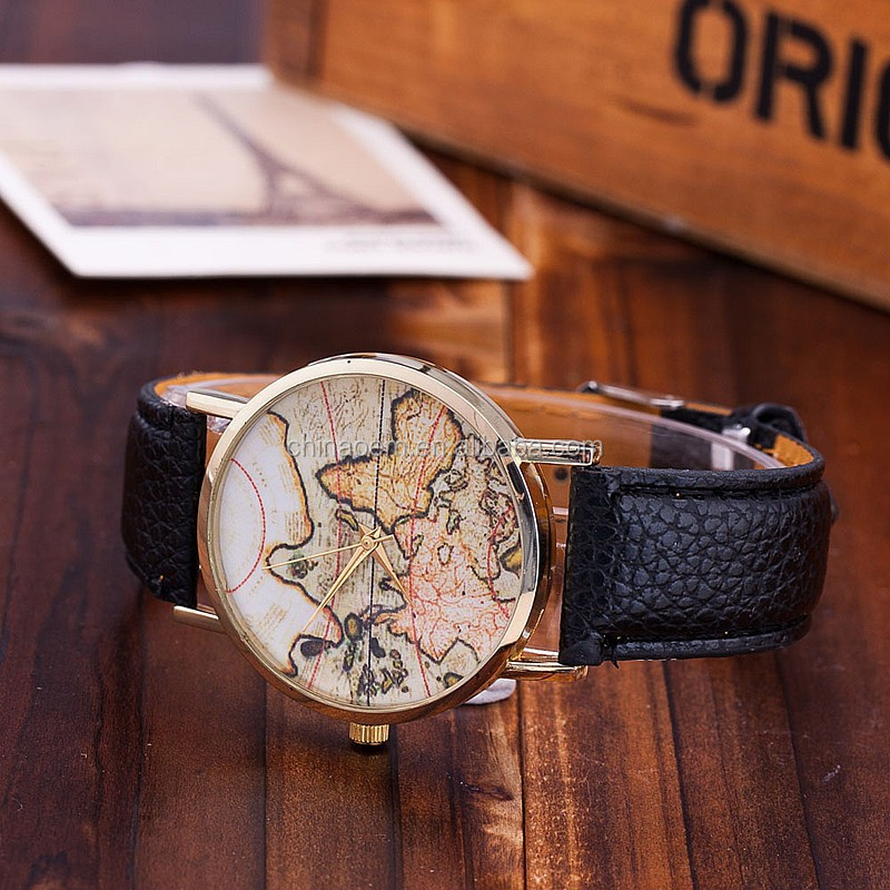 New Women Vintage Earth World Map Watch Leather Wrist Watches High Quality Lady Clock