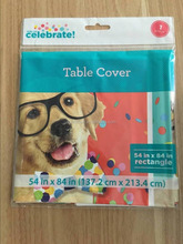 Newest Walmart custom printed PE plastic tablecloth birthday table cover