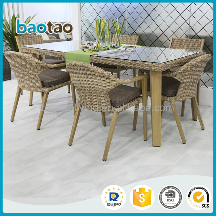 New arrival wood-like powder coating aluminun frame rattan dining set