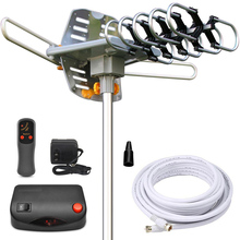 Hot sale!! Amplified Outdoor HDTV Antenna 150 Miles Long Range Motorized 360 Degree Rotation Wireless Remote Control