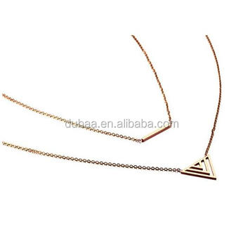 Stainless Steel Delicate Horizontal Bar Triangle Charm 2 Layered Pendent Necklace