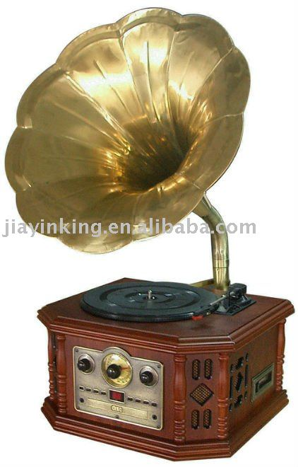 gramophone radio Rotary volume Control AM/FM wood horn turntable cd record cassette radio player