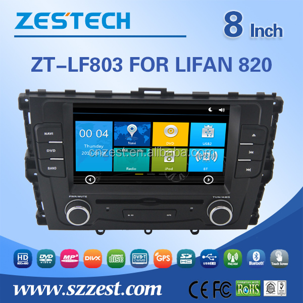 ZESTECH wholesale auto radio for LIFAN 820 auto radio dvd gps player with audio,radios,tv,bt,cd player