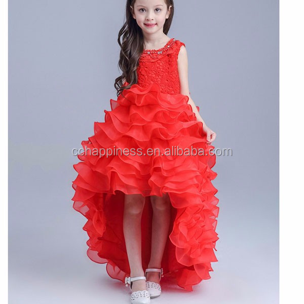 Kid Girl Clothing Sleeveless Tiered Princess Train Dancing Prom Pageant Dress
