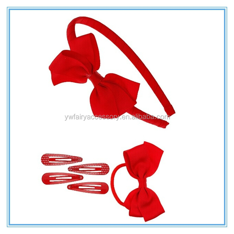 Kids Christmas gift ribbon bow hair accessories set display
