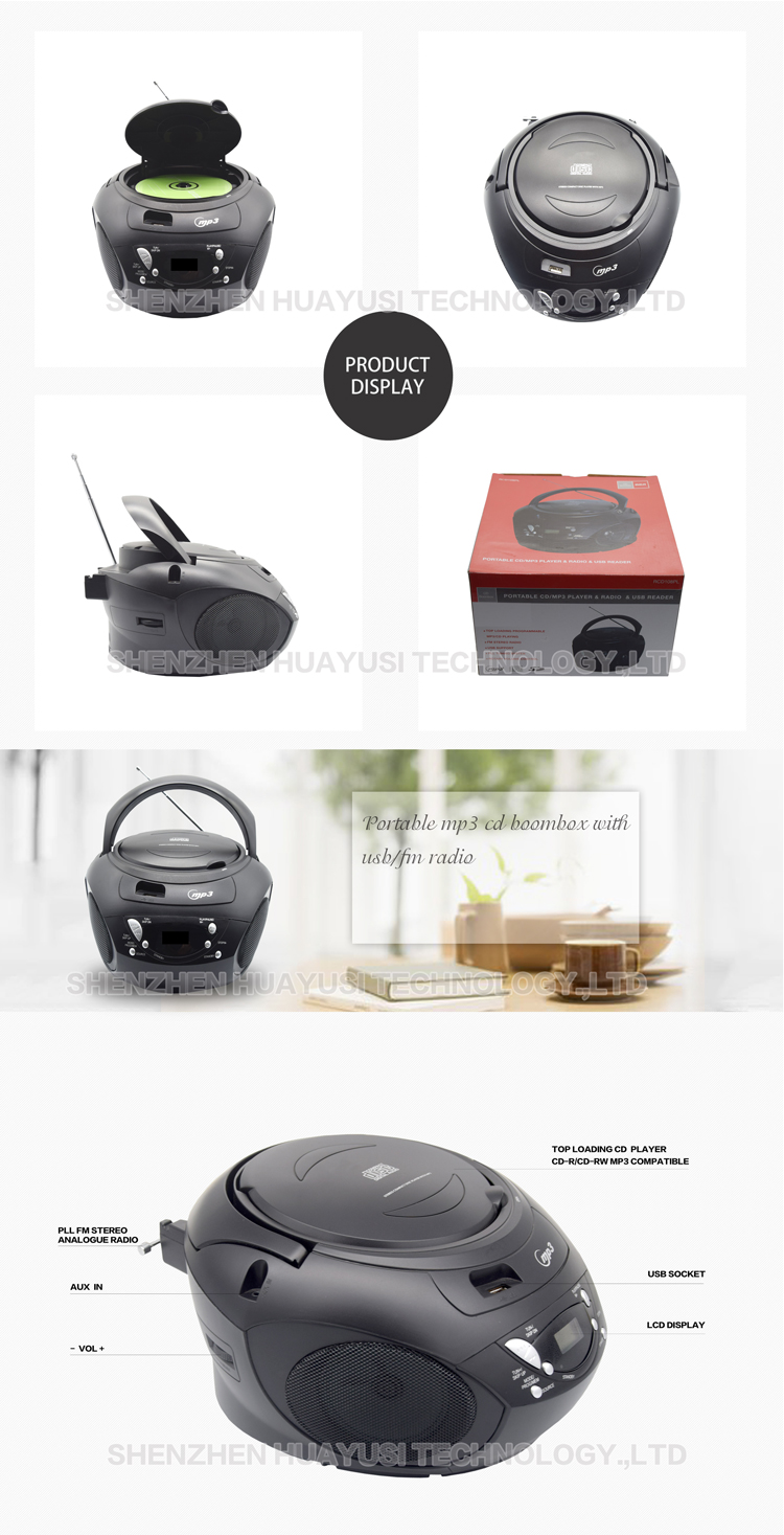 Top Loading Portable Radio CD Player With USB Connection
