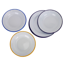Promotion Products 0.5mm 20cm Blank White Enamel <strong>Plates</strong> For Outdoor Camping With Customs Color Roll Rim