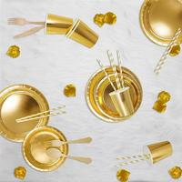 Gold Foil Paper Plate Cup Flatware Straw Solid color Party tableware Set