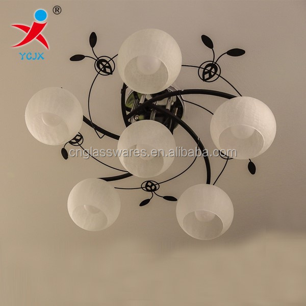 mouth blown frost crackle glass lamp shade for lighting /bedroom glass lamp