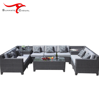 Modern Garden Furniture Outdoor Rattan Wicker Sectional Corner Sofa Set
