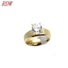 RDW Ring Jewelry Stainless Steel Women Saudi Gold Wedding Ring CZ attached Wedding Finger Ring