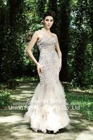 Hottest evening gowns stores in China white sequins rose pink strapless mermaid dress Hong Kong Fashion Week for Fall/Winter