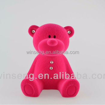 Plastic Flocking Cute Bear Coin Bank with Crystals