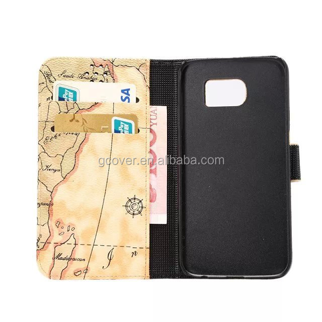 Fashionable map wallet case for Galaxy S6