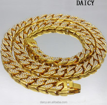 DAICY men's top quality hip hop pave full rhinestone cuban chain gold necklace models
