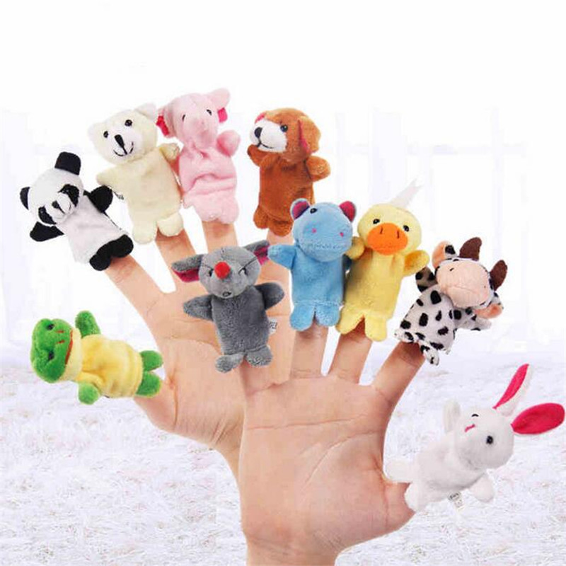 Hot! 10pcs/lot Family Finger fantoches Puppets Cloth Doll Baby Educational Hand Toy Story Kid
