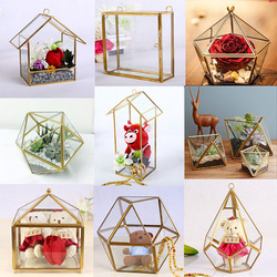 ::@ 2016 new wedding decor chinese factory price clear glass flower vase/clear plant container hanging geometric glass terrarium