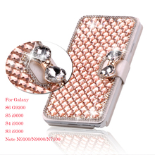 Luxury Bling Crystal Diamond Leather Flip Bag Cover For samsung S 4 5 6 for iphone 5 6 6p Phone Case Cover