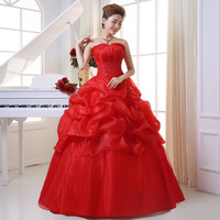 Hot Selling korean style strapless red Ball Gown New Style bridal Wedding Dresses