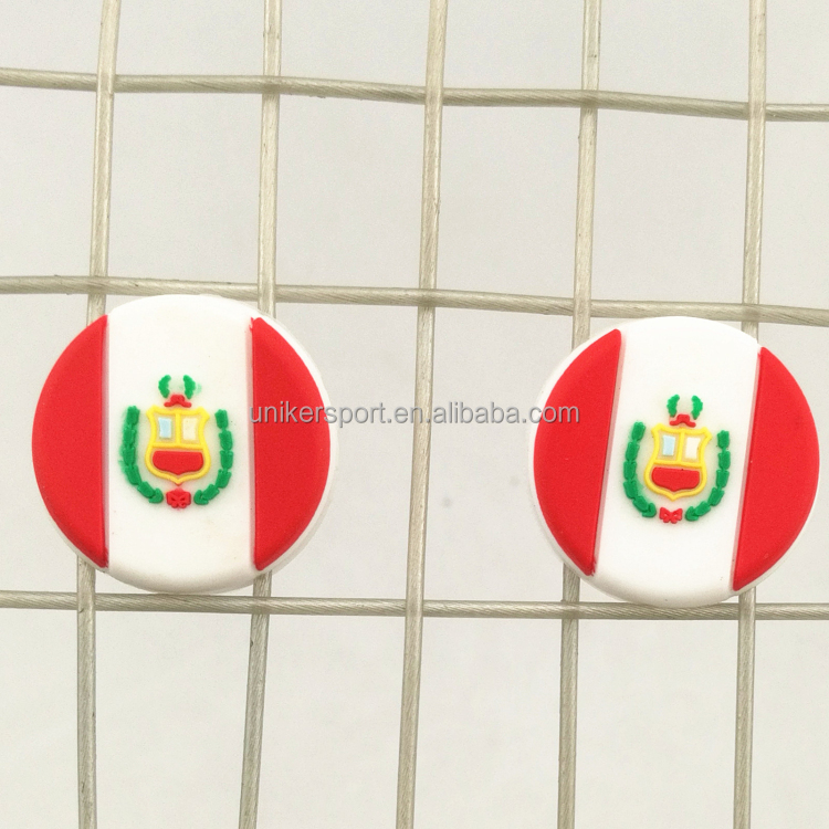 Hot sale round Peru flag silicone tennis racquet dampeners
