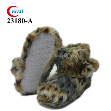 best leopard plush cute bedroom slipper boots for ladies