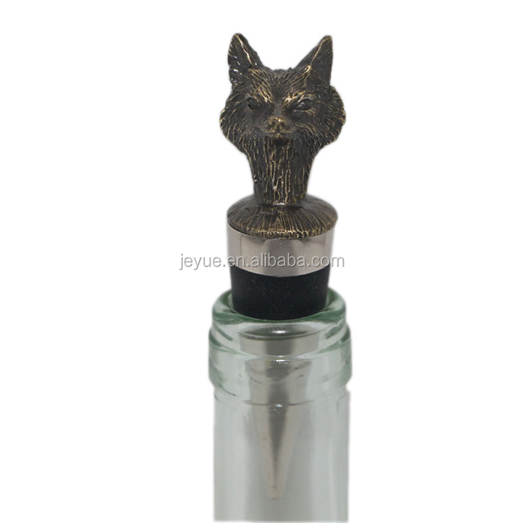Zinc Alloy Antique Gold Fox Metal Blank Wine Bottle Stopper