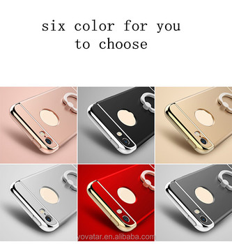 Build-in finger ring & holder 3 in1 eletroplating hard PC case cover for iphone 6/6s/6 plus/6s plus