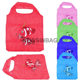 High Quality polyester folding shopping bag of multicolor fish