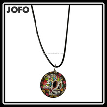 8ADLS009 Anti Silver Plated Round Double Sides Glass Photo Black Leacher Chain Sugar Skull Pendant Jewelry Necklace