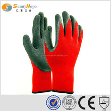 10 Gauge knitted red rubber Latex utility gloves