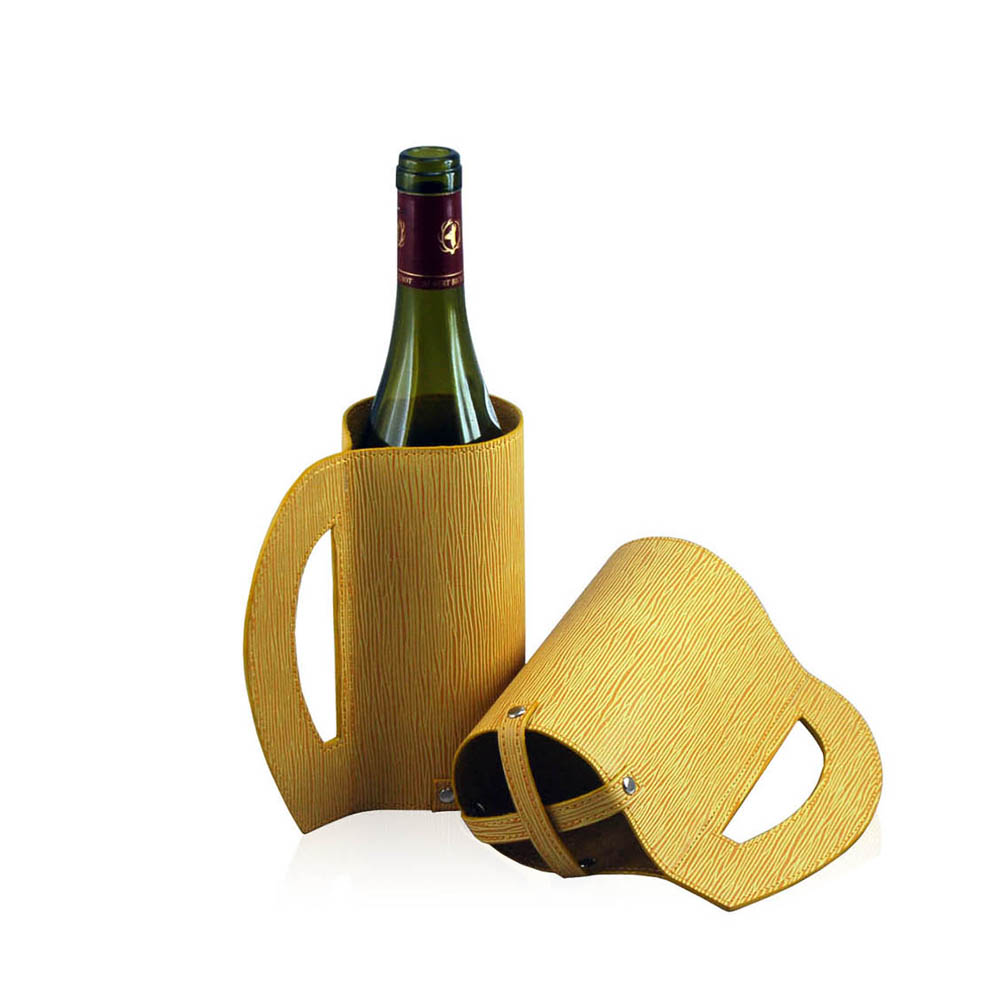 Factory supplier portable new design PU Leather wine holder