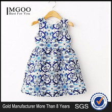 MGOO New Arrival Brand Design Blue Dress For Girl Baby Frock Designs Blue And White Porcelain 3506