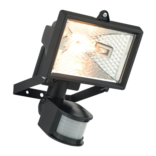 MINI BLACK HALOGEN WITH P.I.R. INCLUDES LAMP