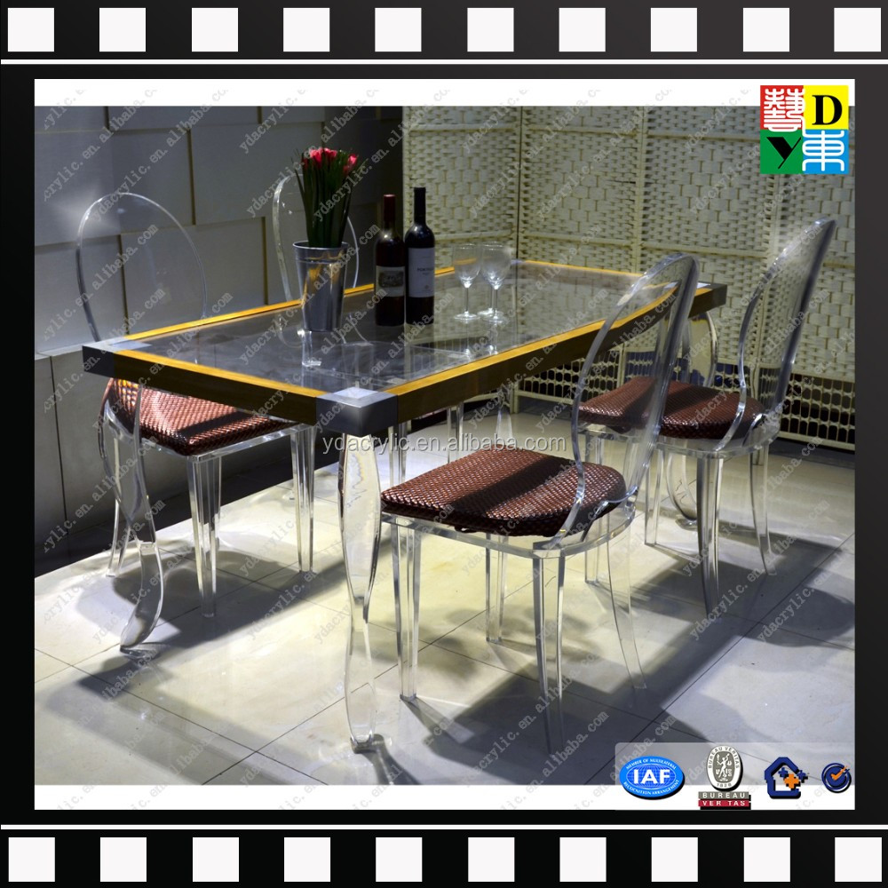 custom design acrylic computer desk in office/high transperant acrylic dining table set with high quality China manufacturer