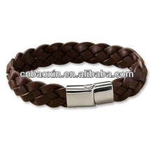 2013 Most Popular Braided Leather Bracelet with Magnetic Clasp
