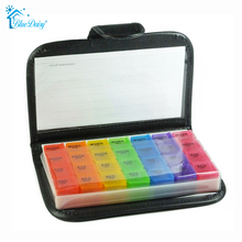 Small 7-Day Weekly Travel Pill Organizer - Prescription & Medication Reminder Pill Box Case