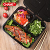 Take out plastic black plastic bento box for Chinese food with clear anti-fog lid