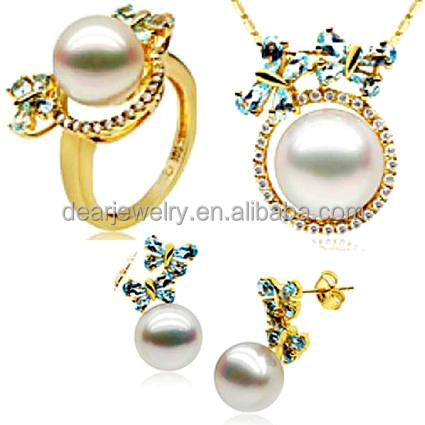 Guangzhou Factory Direct Sale 925 Silver Original Pearl Sets For bride
