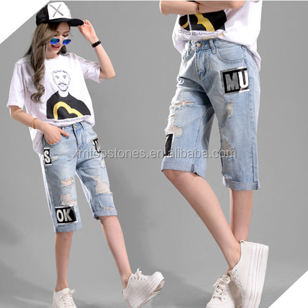 Wide-legged ripped jeans large size high waisted fifth denim pants for women
