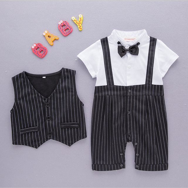 Baby Clothing Set Summer Boutique Short Sleeve Striped Romper Vest 2pcs Newborn Baby Boys 1st Birthday Outfits