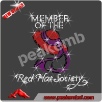 Rhinestone Transfer Red Hat Society Hotfix Iron On decorative clothes women